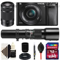 Sony Alpha A6000 Camera with 16-50mm, 55-210mm & 500mm Lens