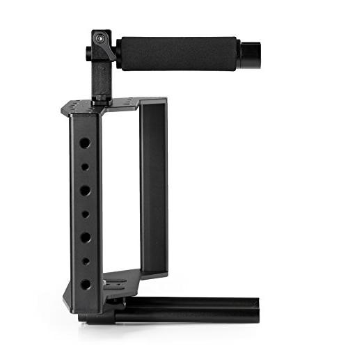 Movo Universal Aluminum Camera with Handle, Shoe Mount 15mm Rods
