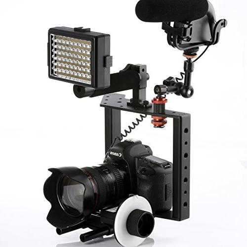 Movo Aluminum DSLR Camera with Top Mount and Rods
